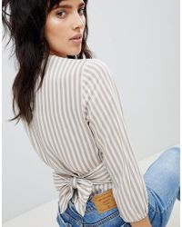 Stradivarius - Striped Linen Top With Bow - Lyst