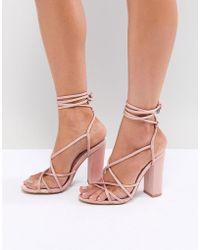 Missguided - Multi Strap Block Heel Sandals - Lyst