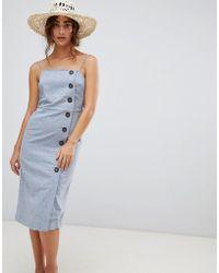 Warehouse - Linen Column Button Dress - Lyst