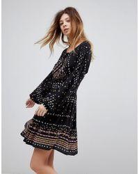 Free People - Coryn Printed Skater Dress - Lyst