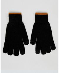 River Island - Touch Screen Gloves With Contrast Rib In Black - Lyst