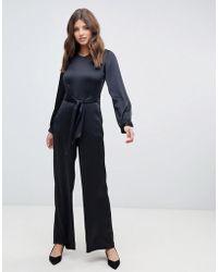 Closet - Puff Sleeve Jumpsuit In Black - Lyst