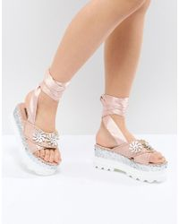 Lost Ink - Pink Flatform Glitter Sandals - Lyst