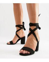 Park Lane - Parklane Wide Fit Tie Leg Block Heeled Sandals - Lyst
