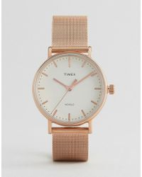 Timex - Fairfield 37mm Mesh Watch In Rose Gold - Lyst