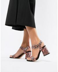 c19d66c4cea ASOS - Humming Bird Mid Block Heeled Sandals In Multi Snake - Lyst