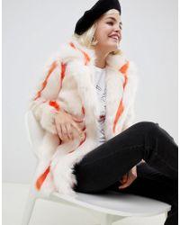 Glamorous - Coat In Stripe Faux Fur - Lyst