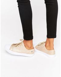 Blink | Lace Up Plimsoll Trainer - Beige | Lyst