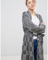 Bellfield - Jacquard Checked Wrap Cardigan - Lyst