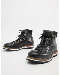 Office - Intrepid Hiker Boots In Black Leather - Lyst