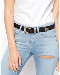 ASOS - Design Leather Western Tip Waist And Hip Belt - Lyst