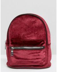Pull&Bear - Pull And Bear Mini Velvet Backpack - Burgundy - Lyst