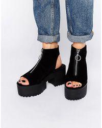Pull&Bear - Open Toe Zip Up Shoe - Black - Lyst