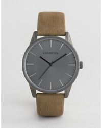 Unknown - Classic Leather Watch In Moss - Lyst