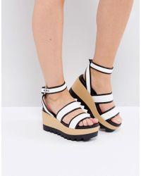 Pull&Bear - Black And White Wooden Wedge - Lyst