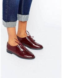 Daisy Street | Lace Up Burgundy Flat Shoes | Lyst