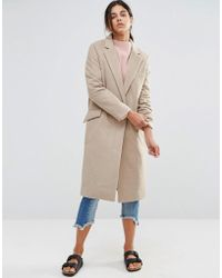 Native Youth - Longline Brushed Duster Coat - Lyst