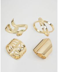 Glamorous - Crossover Ring Layering Pack - Lyst