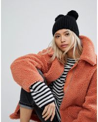 Helene Berman - Taupe Knit Hat With Double Pom Pom - Lyst