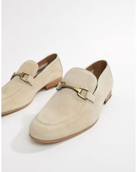 River Island - Suede Loafers In Stone - Lyst