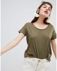 Mango - Organic Cotton T-shirt In Khaki - Lyst