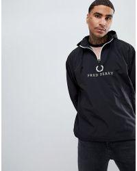 Fred Perry - Sports Authentic 90s Logo Half Zip Overhead Windbreaker In Black - Lyst