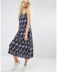 I Love Friday - Pleated Cami Dress In Floral Print - Lyst
