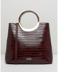 Faith - Moc Croc Tote Bag With Circle Handle - Lyst