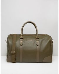 Barneys Originals - Barneys Structured Leather Holdall In Khaki - Lyst