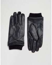 Barneys Originals - Barneys Black Leather Gloves With Cuff Details - Lyst