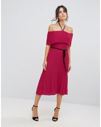 Warehouse - Off Shoulder Pleated Tie Neck Dress - Lyst