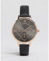 New Look | Black Leather Look Watch | Lyst