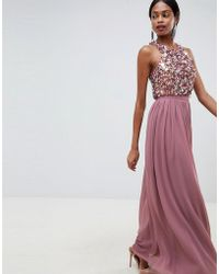 87eff451a57c ASOS Pleated Maxi Dress With Lace Inserts And Ruffle Detail in ...