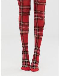 Monki - Checked Tights In Red - Lyst