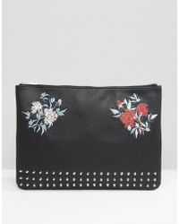 ASOS - Clutch Document Case With Studding & Embroidery - Lyst