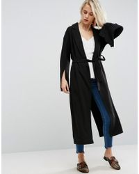 ASOS - Belted Duster Coat With Split Sleeve - Lyst