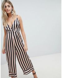 Missguided - Cami Stripe Culotte Jumpsuit - Lyst