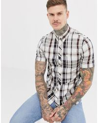 811d4e65512 Fred Perry - Short Sleeve Check Shirt In Navy And Brown - Lyst