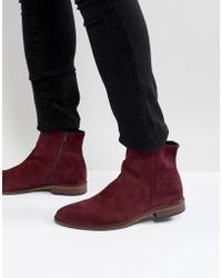 ASOS - Chelsea Boots In Burgundy Suede With Natural Sole - Lyst