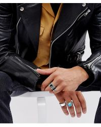 ASOS - Chunky Ring Pack In Burnished Silver With Feather And Turqoise Stone Design - Lyst