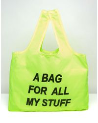 Monki - Neon Fold Up Shopper Bag - Yellow - Lyst