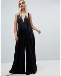 3517ea77beb1 ASOS Asos Design Tall Minimal Jumpsuit With Gathered Waist And Wide ...