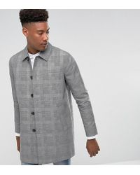 ASOS - Tall Shower Resistant Single Breasted Trench In Prince Of Wales Check - Lyst