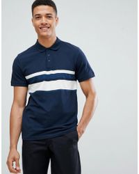 SELECTED - Polo Shirt With Block Stripe Detail - Lyst