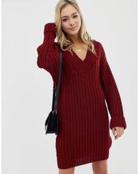ASOS - V Neck Knitted Mini Dress In Chunky Rib - Lyst