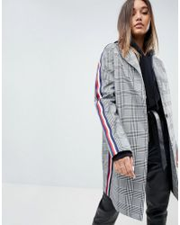 ASOS - Slim Coat In Mono Check With Sports Trim - Lyst