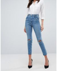 ASOS - Farleigh High Waist Slim Mom Jeans With Panel Seams And Busted Knees In Prince Wash - Lyst