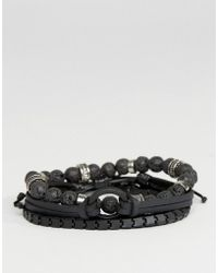 ALDO - Matte Black Bracelets In 4 Pack - Lyst