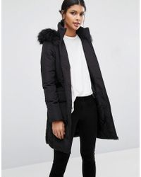 Warehouse - Padded Coat With Faux Fur Hood - Lyst