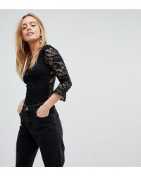 Miss Selfridge - Ruffle Sleeved Lace Body - Lyst